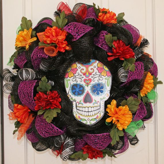 Hey, I found this really awesome Etsy listing at https://www.etsy.com/listing/205237288/day-of-the-dead-wreath