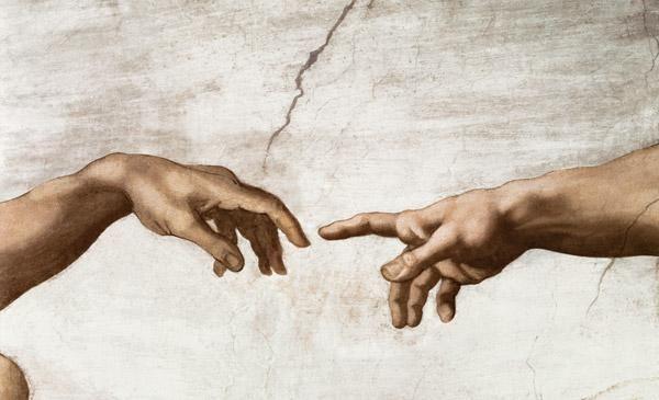 Michelangelo (Buonarroti) - Ausschnitt aus Die Erschaffung Adams