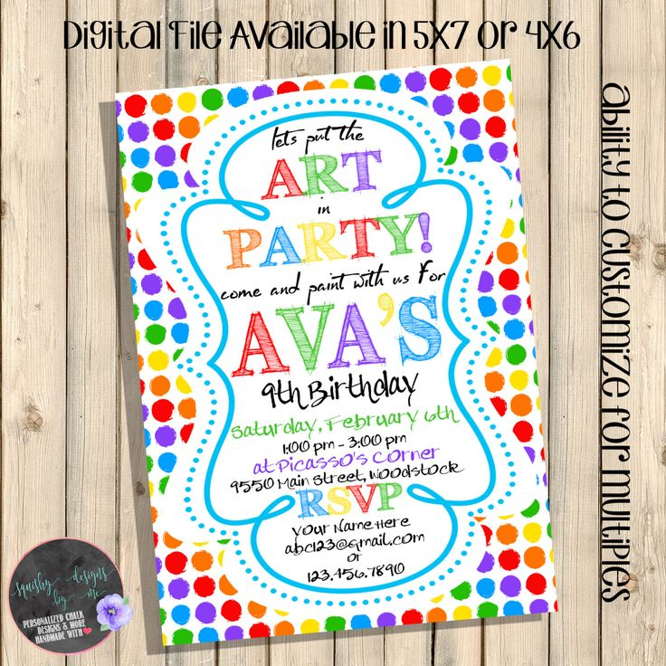 Art Party Birthday Invitation Paint Invite Drawing Painting