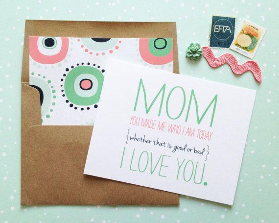 Maman faite de moi la fête des mères carte-blanc plié A2 carte de voeux avec enveloppe kraft ligné brun inclus