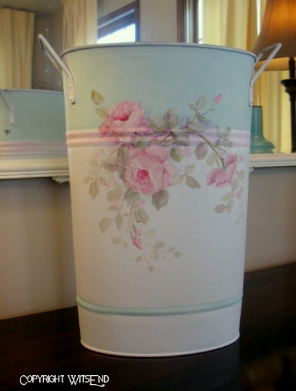 Flower Sap can bucket for flowers painting on vintage pail. by WitsEnd via Etsy.  SOLD