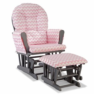 Storkcraft Hoop Custom Glider and Ottoman in Gray and Pink