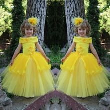 Cute Bright Yellow Flower Girl Dresses For Wedding Tulle Ball Gowns With Lace Applique Beads Little Girls Pageant Dresses(China (Mainland))