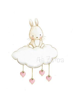 "Nursery Art ""BUNNY CLOUD"" Reproduction artistique, Illustration de la pépinière"