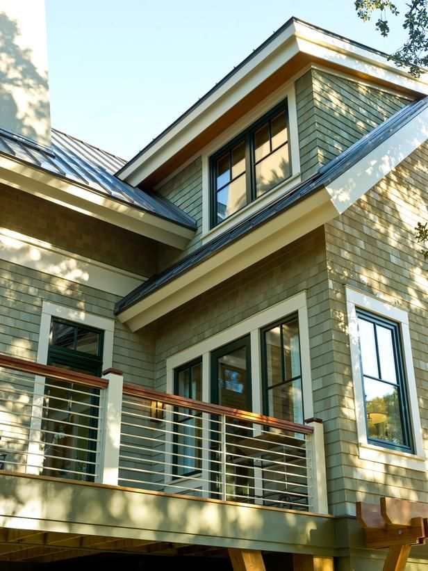 Cedar-like celluar PVC shingles offer the look of aged clapboards but are impervious to water and insects. The 100-percent recyclable product also features a solar-reflective coating.