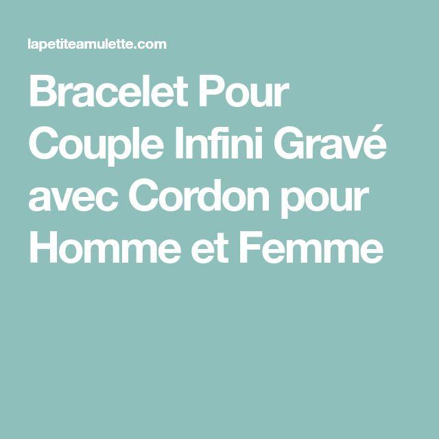 Bracelet Pour Couple Infini Gravé avec Cordon pour Homme et Femme