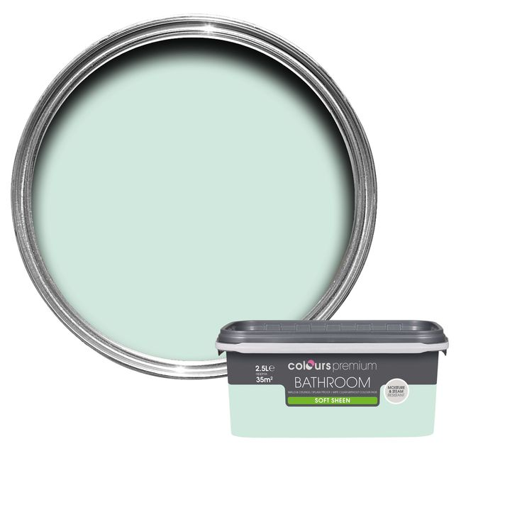 Colours Bathroom Duck Egg Soft Sheen Emulsion Paint 2.5L | Departments | DIY at B&Q