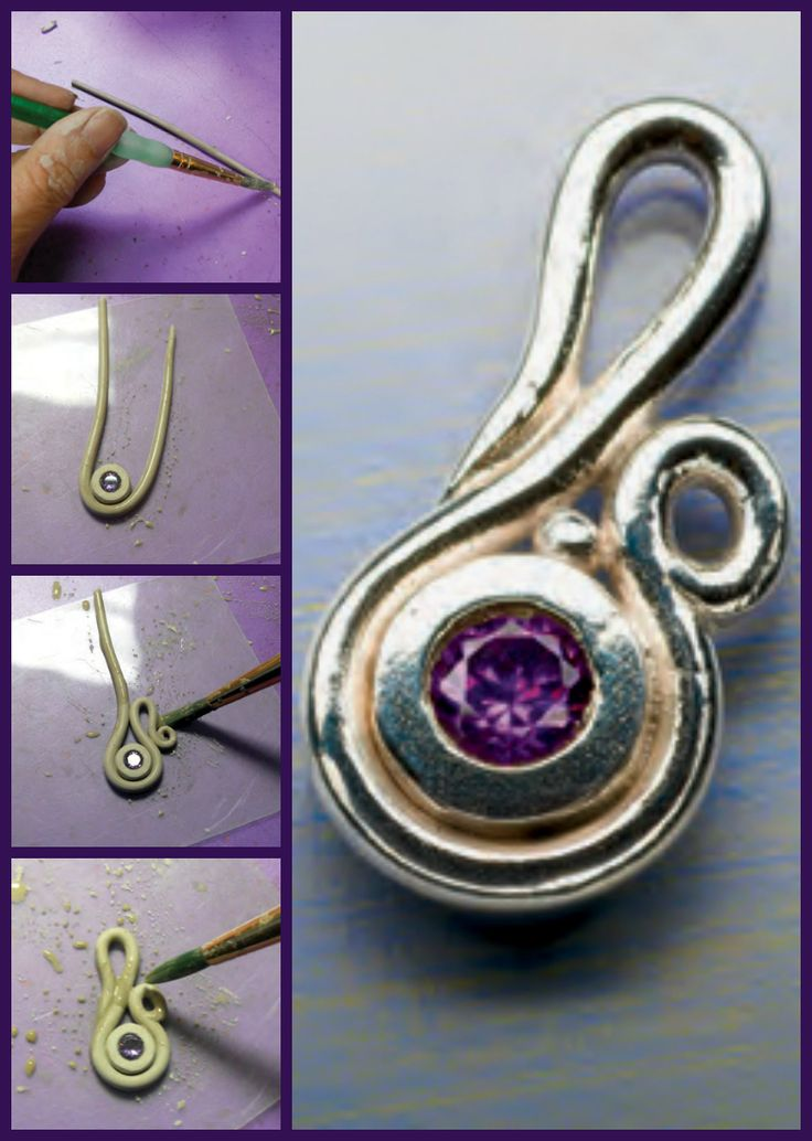 """You can easily make this sweet little pendant with a few basic metal clay skills! Learn how to make a metal clay pendant with the project, """"Sweetheart Gem Pendant,"""" by Lis-el Crowley.  #MetalClay #jewelry #pendants"""