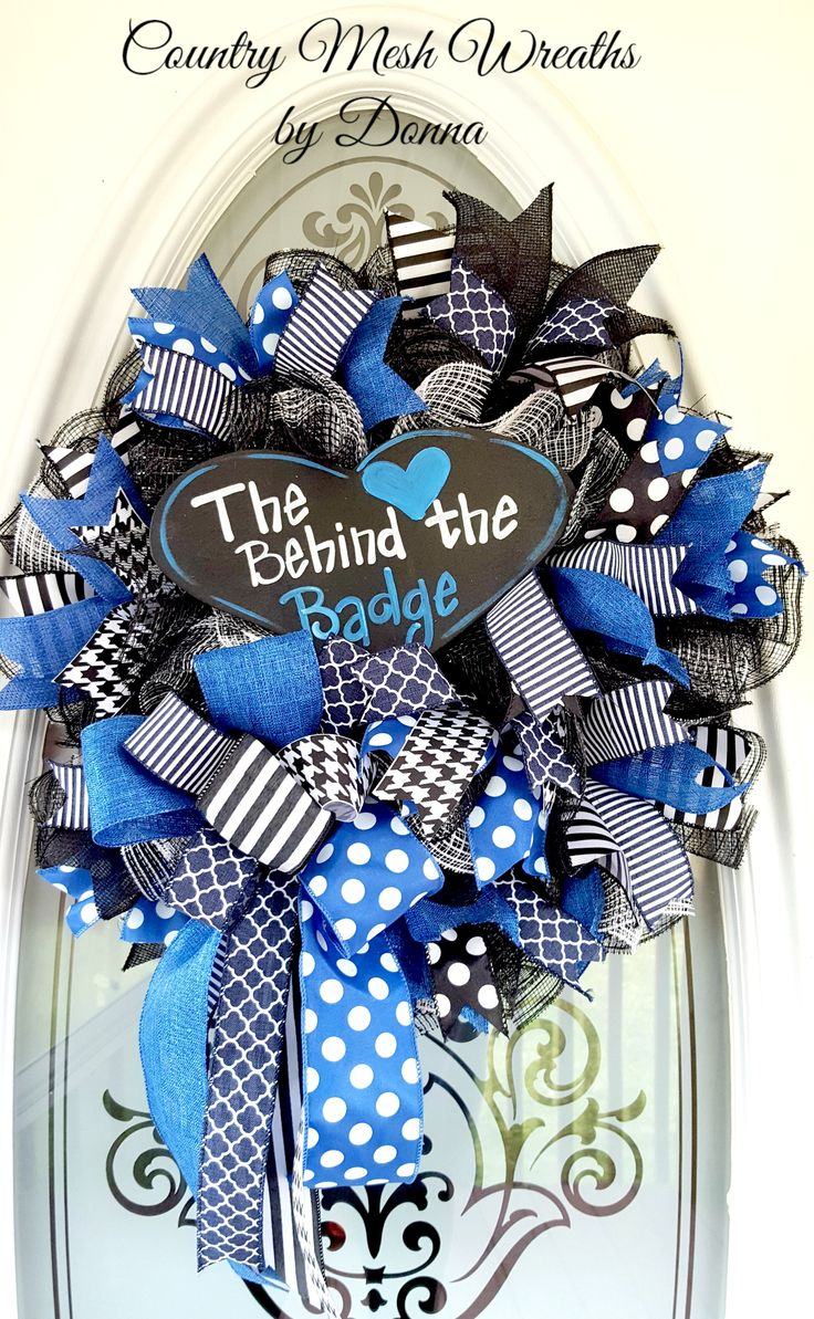 "Behind The Badge Mesh Wreath ~ Black Deco Mesh and Black Checked Fabric Mesh, Coordinating RIbbon, with Wooden hand painted sign. 10"" Work Wreath"