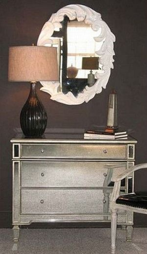 Mirrored bedroom furniture - mirror furniture for sale - Borghese Mirrored 3-Drawer Designer Chest.jpg