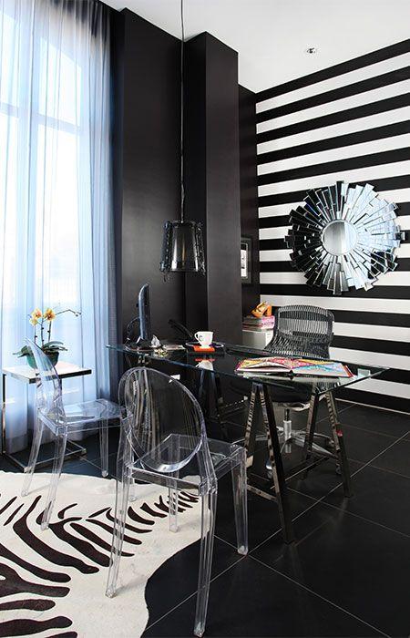 Black & white glam!! office with zebra hide rug
