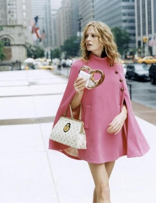 cute pink cape: Pink Coats, Fashion Style, Clothing, Street Style, Retro Style, 60S Style, Pink Capes, Winter Coats