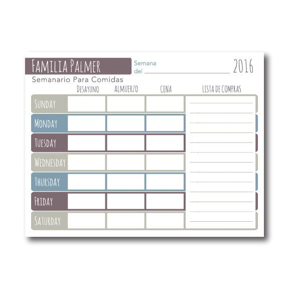 Weekly Meal Planner Printable, Spanish, Editable PDF, Personalized ...