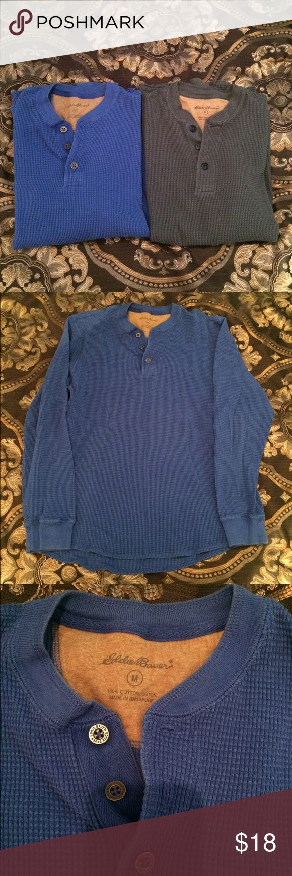 2 Eddie Bauer waffle shirts Awesome comfortable Eddie Bauer waffle shirts with rounded bottoms. Both a blue, ones a bright royal blue and the other is a blue grey. Great staples to any wardrobe. Been well warn and still in great shape. Make an offer! Eddie Bauer Sweaters Crewneck