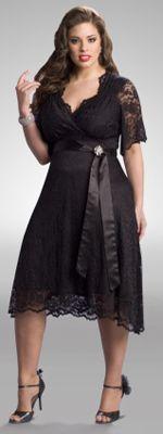 Plus Size Black Lace Retro Glam Cocktail Dress - 0X - 5X