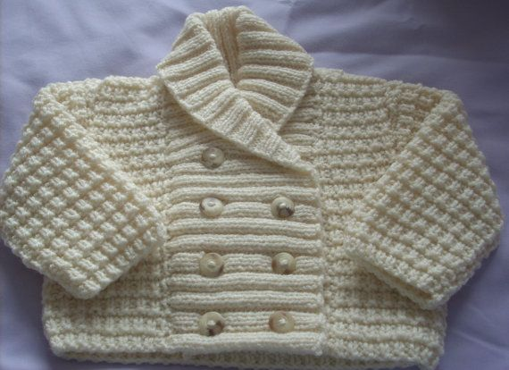 Hand Knit Baby Shawl Collar Jacket-double by TheKnittingNannieGB