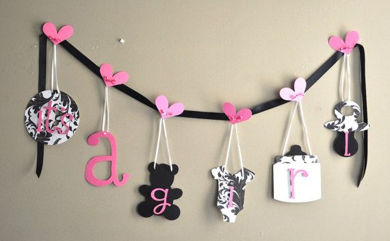 Pink and Black Damask baby shower decorations by ParkersPrints, $16.50