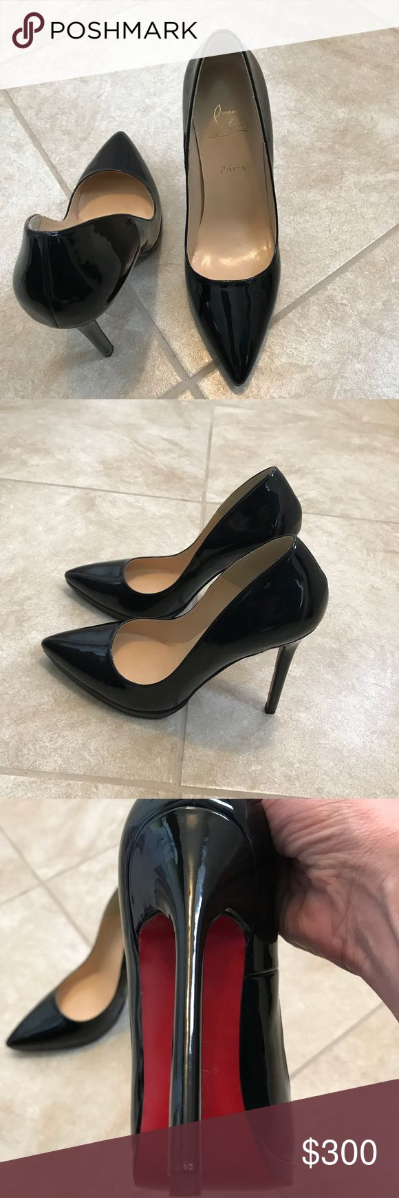 Christian Louboutin black patent So Kate pump
