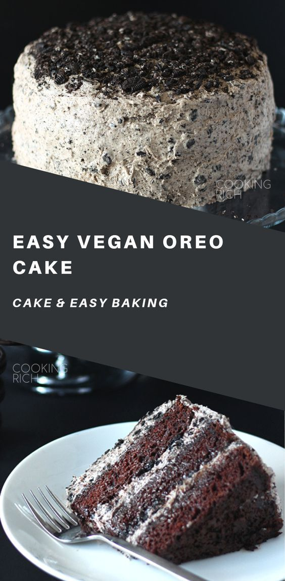 The beloved oreo cookie steals the show in this amazing vegan chocolate cake! Th… – Kitchen