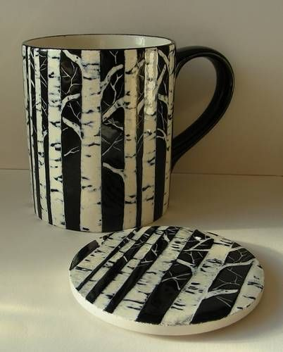 birch tree sgraffito mug - POTTERY, CERAMICS, POLYMER CLAY