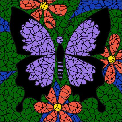 easy mosaic ideas completed butterfly purple mosaic mandala kit created in ceramic tiles - Mosaic Design Ideas