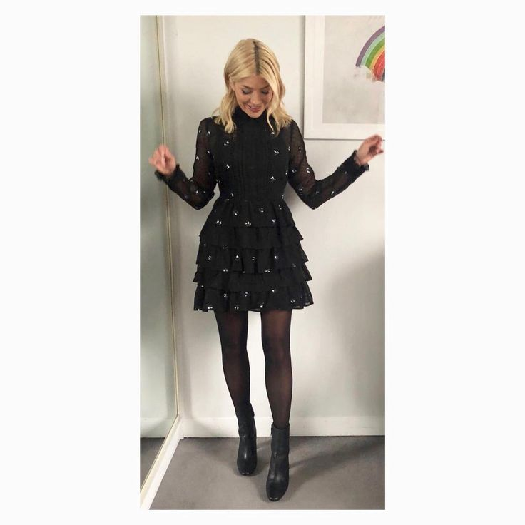 """99.2k Likes, 424 Comments - Holly Willoughby (@hollywilloughby) on Instagram: """"Shake your ruffles it's Monday! Today's look on @thismorning ... dress by @veryuk boots by @topshop…"""""""