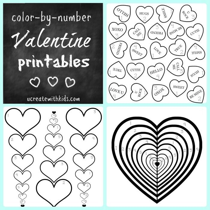 valentine coloring pages by numbers - photo #13