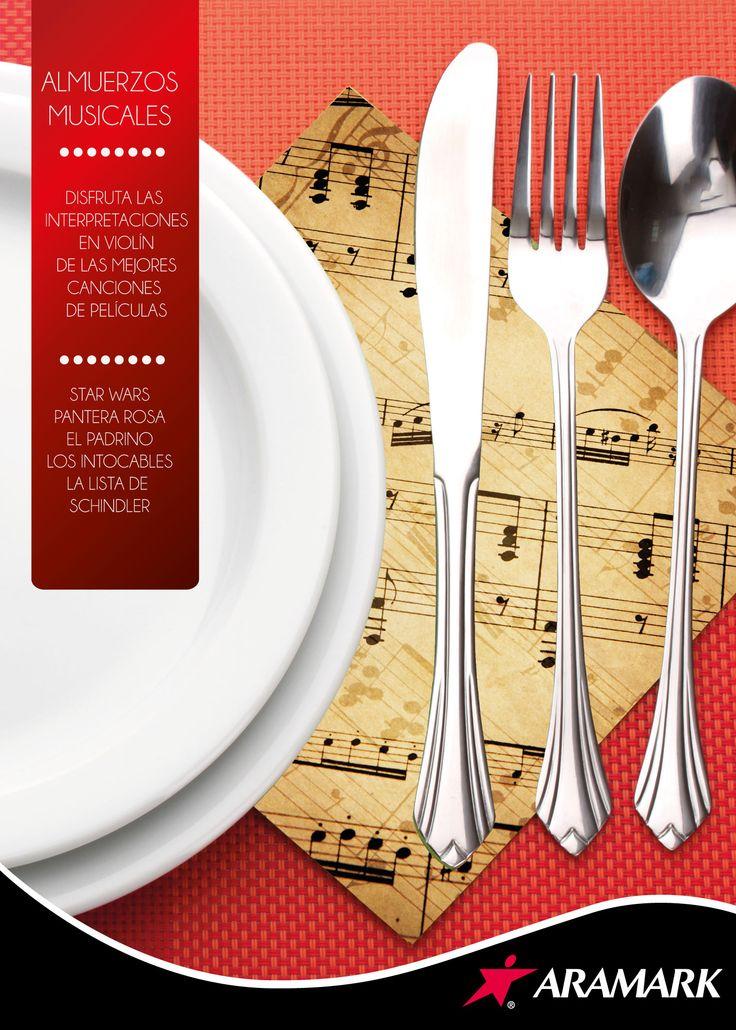 Afiche almuerzos acompañados con música de películas clásicas.  Diseño y Redacción.
