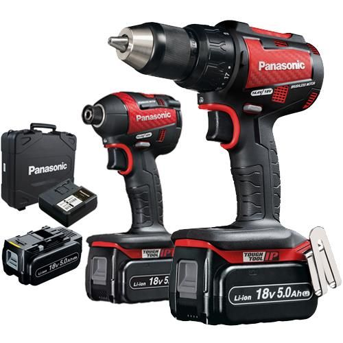*CLICK TO ENLARGE* Panasonic EYC217 18V Brushless Twin Pack: Combi Drill, Impact Driver, 3x 5.0Ah (Limited Red Edition)