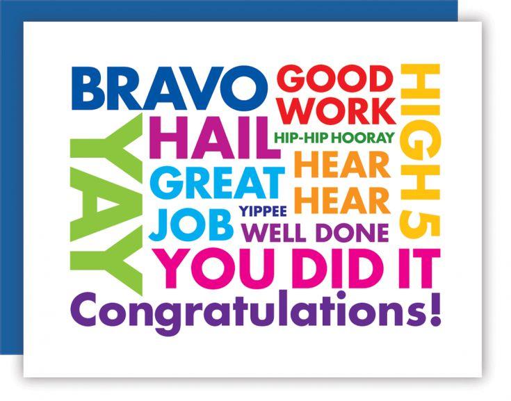Celebrating A New Job Quotes: Bravo Good Work High 5 Congratulations