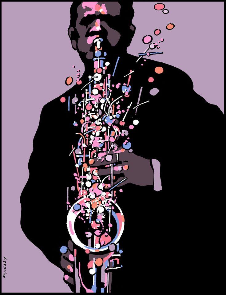 Waldemar Swierzy - Sax Appeal / Saxophone (Fine Art Print / Polish Poster Art)