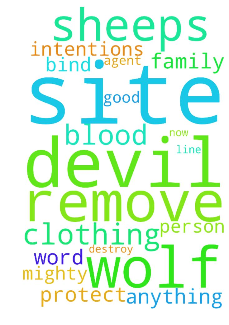 Remove any wolf in sheeps clothing out of this site, now in Jesus name!! -  God, remove any wolf in sheeps clothing out of this site in Jesus name, and any devils agent in the mighty name of Jesus Christ Anything not in the line with the word of God destroy it in the name of Jesus. I bind the devil with Jesus blood and protect this site, me, my family and every person here with good intentions with the blood of Jesus, in Jesus name, amen  Posted at: https://prayerrequest.com/t/vJS #pray…