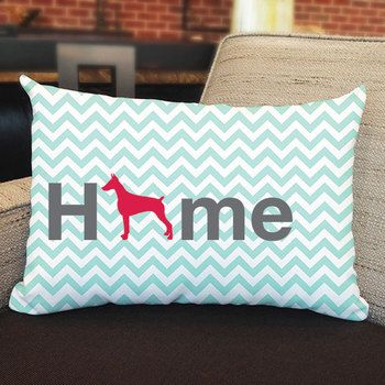 "Our super soft Doberman Pinscher Home pillow is 12"""" x 16"""" in size with zipper cover. Printed on both sides. Made in USA. Spot clean."