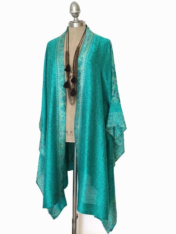 silk kimono jacket / beach cover up / teal green by Bibiluxe, £90.00