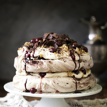 Black Forest Pavlova With Espresso Cream