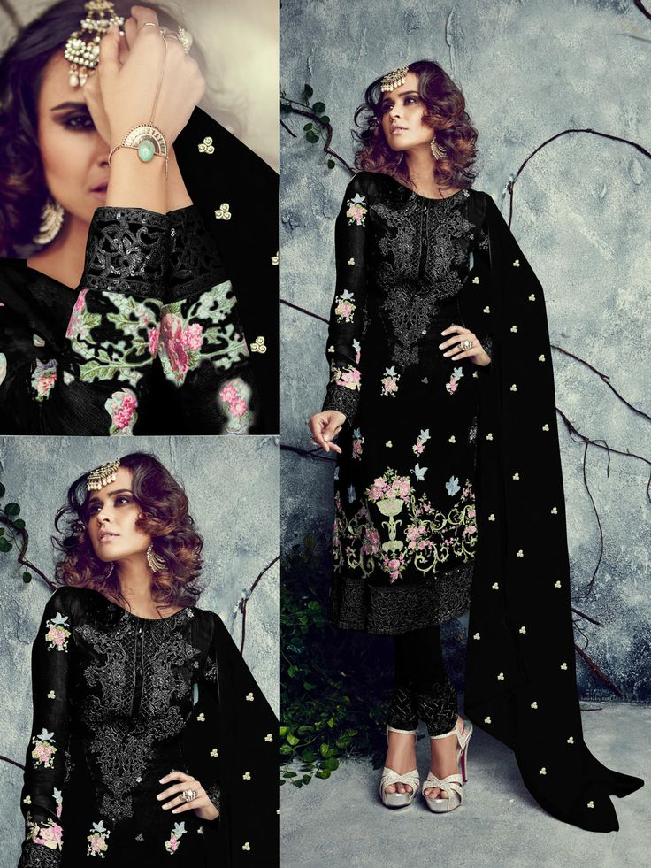 Black Georgette Pakistani Style Suit 69061