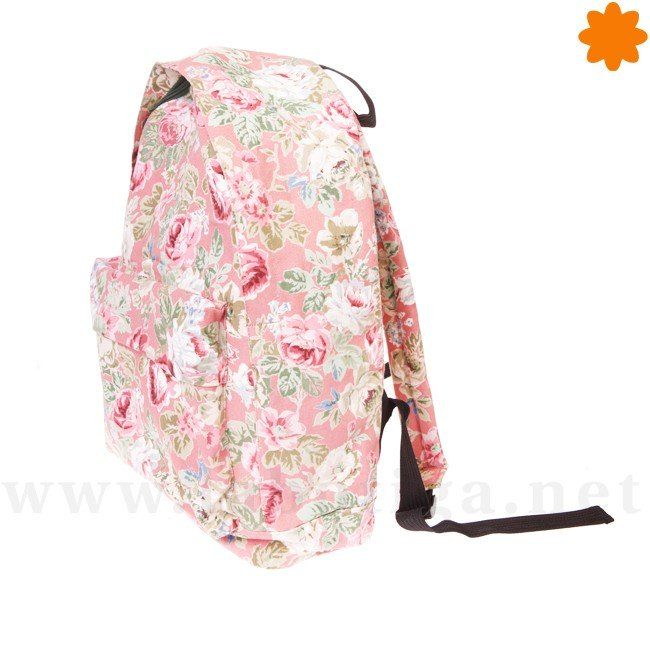 Mochila vintage floreada de color Rosa