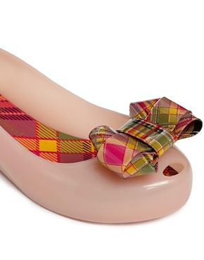 Vivienne Westwood For Melissa Nude Plaid  Bow Flat Shoes