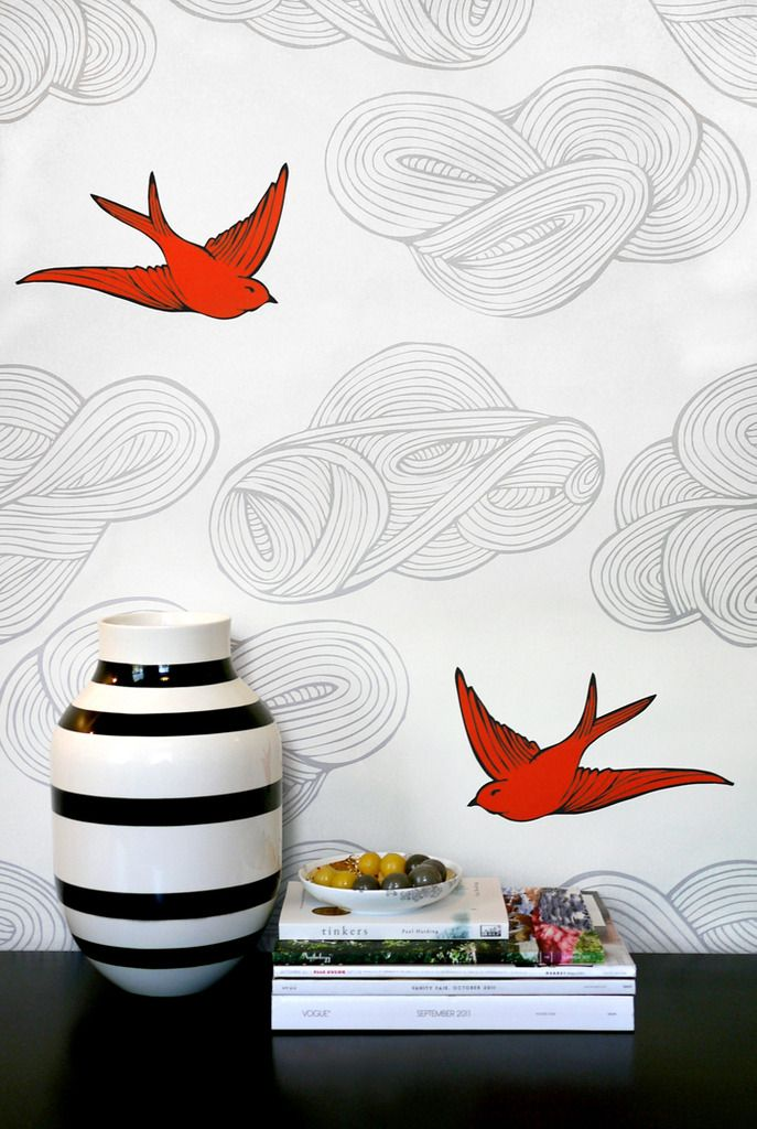 Orange white gray wallpaper (Daydream by Julia Rothman)