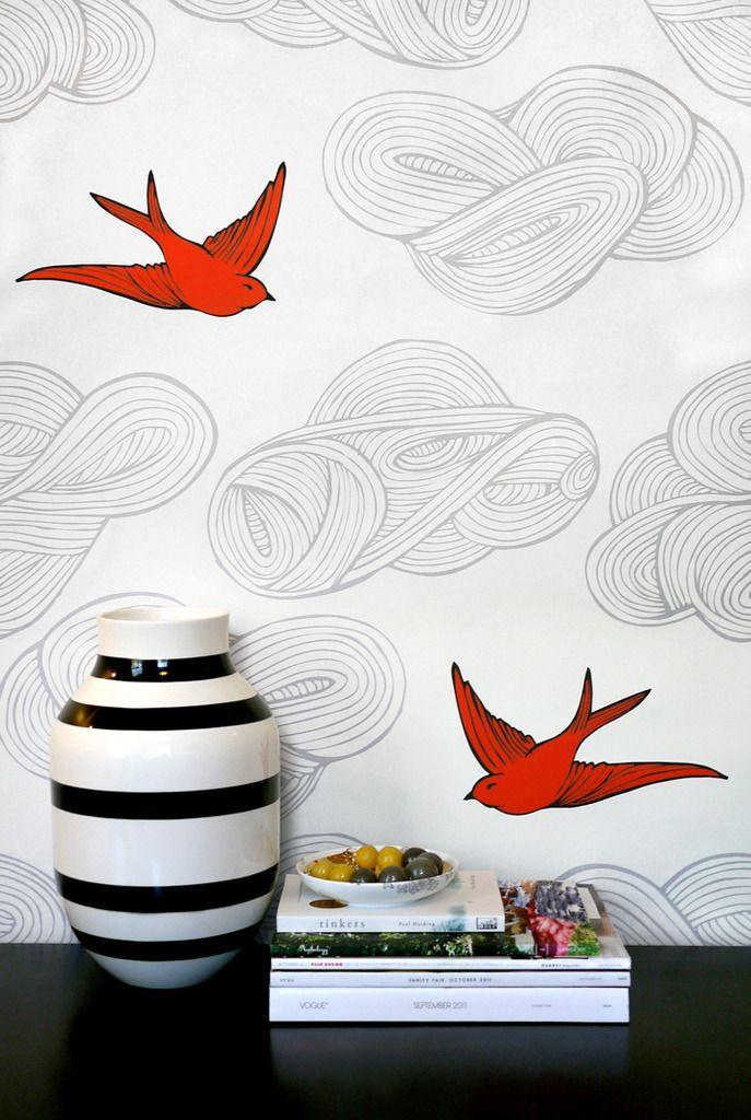 Orange white gray wallpaper (Daydream by Julia Rothman)