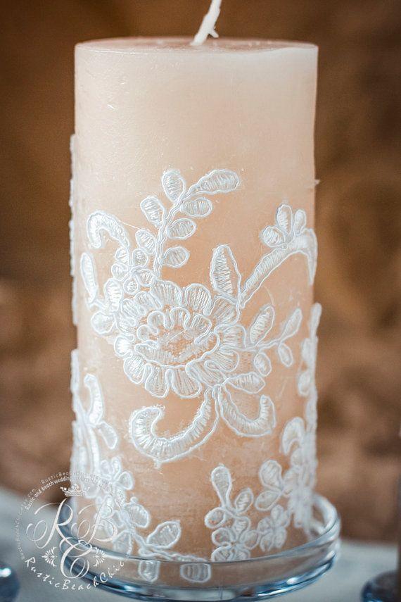 Encaje unidad velas de boda rústica unidad establece velas