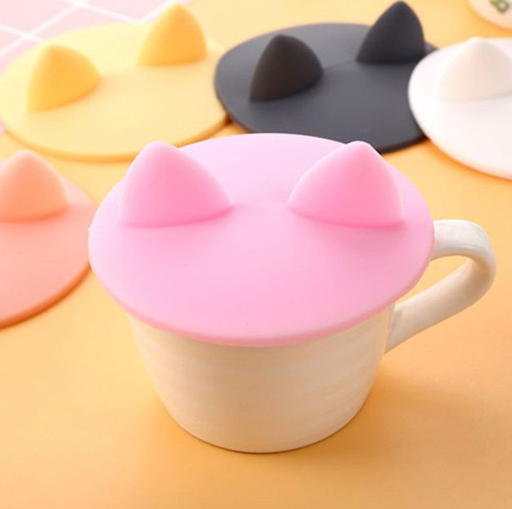 Lovely Mini Cat Ear Silicone Leakproof Coffee Mug Airtight Sealed