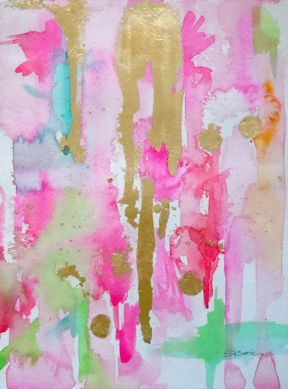 Abstract Watercolor Original Painting Pink Mint Gold
