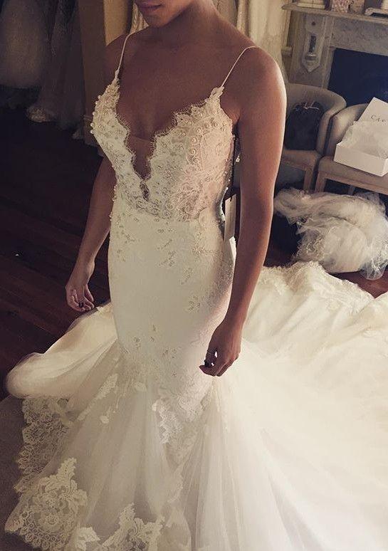2017 Spaghetti Straps Mermaid Wedding Dresses Sexy Appliques Bridal Gowns