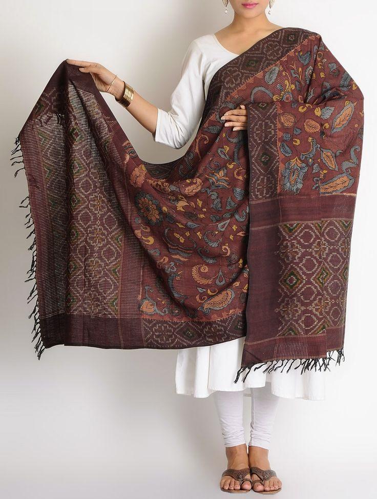 Buy Maroon-Multi-Color Cotton Ikat Hand Painted Kalamkari Dupatta Online at Jaypore.com