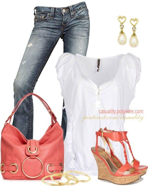 Spijkerbroek/zwarte broek/grijze broek, creme top, koraal jasje