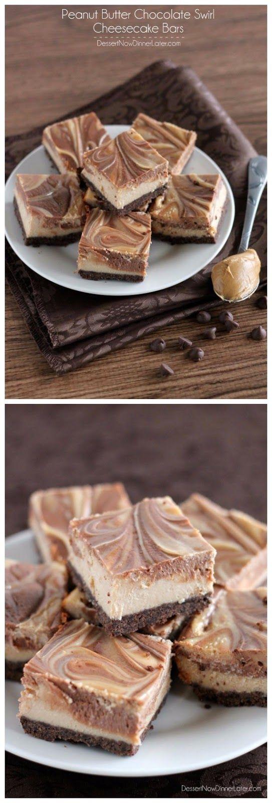 Peanut Butter Chocolate Swirl Cheesecake Bars - Food Recipes by Damla