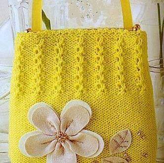 Sarı çiçekli çanta modeli - Derya Baykal - Örgü Dantel Modelleri Örnekleri