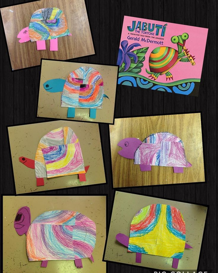 """Kindergarten created these """"Jabuti"""" inspired turtles. The filled a page with concentric ovals,cut,rearranged & glued..and created the other turtle parts. So fun! 🐢🎨"""