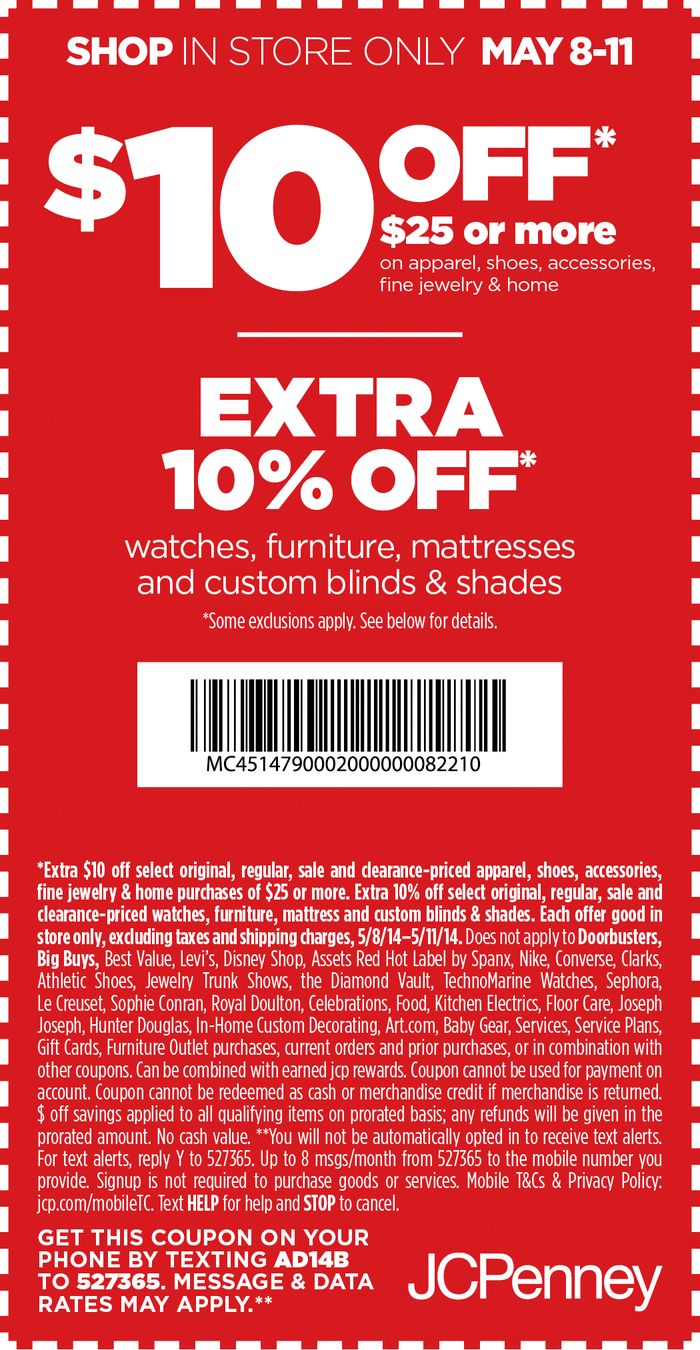 Pinned may 9th 10 off 25 at jcpenney coupon via the coupons app the coupons app pinterest coupons
